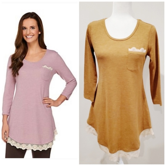 LOGO Tan Ribbed Top With Lace Detail Size Medium